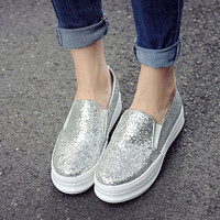 New Women's Retro Cool Loafer PU Flats Platform Round Toe Casual Sequins Shoes Black Blue Sliver Fashion Mujer zapatos Mocassin