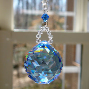 Little Simplicity Sapphire -  Available in 12 Colors - Swarovski Crystal Car Charm for Rearview Mirror, 5 inch