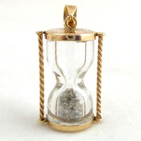 Estate 10K Yellow Gold Hourglass with Diamond Dust Pendant Works