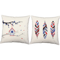 Set of 2 Freedom Birdhouse Throw Pillows - 4th of July Pillow Covers With Or Without Cushion Inserts - Patriotic Pillows,Feathers,Birdhouse