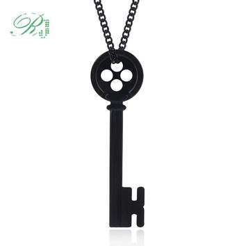 RJ 2018 Movie Coraline Necklace Pendants Black Button Key Skull Nightmare Before Christmas Choker Kingdom Hearts Jewelry Gift