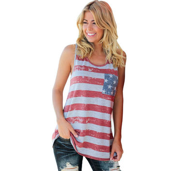 Summer T shirt Women American Flag Stripe Printed Crop Bowknot Tank Tops Fashion