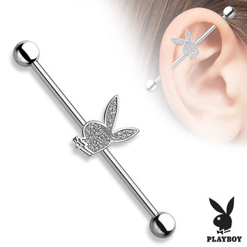PB Bunny Sparkling Centered 316L Surgical Steel Industrial Barbell Scaffold Barbell