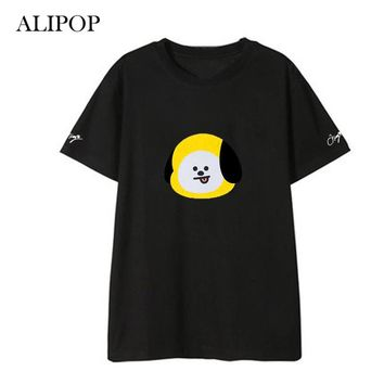 ALIPOP Kpop BTS BT21 Cartoon Album Shirts Hip Hop Casual Loose Clothes Tshirt T Shirt Short Sleeve Tops T-shirt DX570