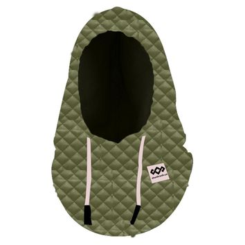 Quilted Hood FaceMask Green & Black