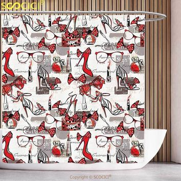 Funky Shower Curtain Fashion House Decor High Heels Bags Perfume Glasses Cool Items with Specled Ribbon Glamour Red White