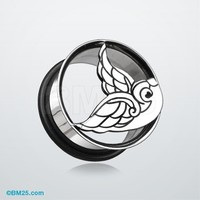 Flying Swallow Hollow Steel Single Flared Ear Gauge Plug
