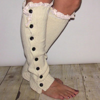 Button  Cream Legwarmer Boot Sock