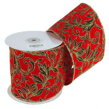 Poinsettias Glitter Holiday Christmas Ribbon Wired Edge, 4-Inch, 10 Yards, Red