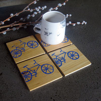 Bicycle Coasters, Reclaimed Cypress