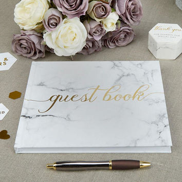 Scripted Marble Wedding Day guest book perfect finishing touch to your special day
