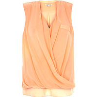River Island Womens Coral wrap front sleeveless blouse