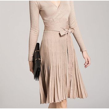 Autumn Winter Vintage Pleated Sweater Dress Women New Solid Long Sleeved Empire Sexy V-neck Elegant  Slim warm Knitted Dresses