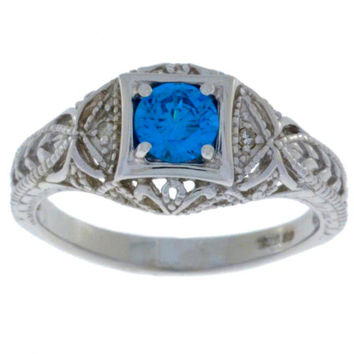 Swiss Blue Topaz & Diamond Round Ring .925 Sterling Silver