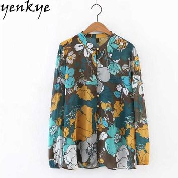 Women Vintage Floral Printed Chiffon Blouse Shirt Stand Collar Long Sleeve Casual Ladies Shirts