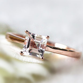 VS 5mm Princess Morganite Engagement Ring14K Rose Gold Wedding Ring  Promise Ring Hand Ring Anniversary Ring Gemstone Ring Everyday Ring