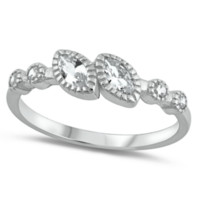 .925 Sterling Silver Marquise Cut Ladies Promise Ring size 5-10