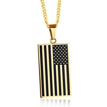 VONESC6 Popular jewelry Stainless Steel American Flag Pendant Personality Tag Dog License Necklace for Men