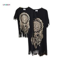 CREYON5U family look 2016 mummy daughter new summer mom and daughter dress matching mother mommy me dress black fringe baby clothes
