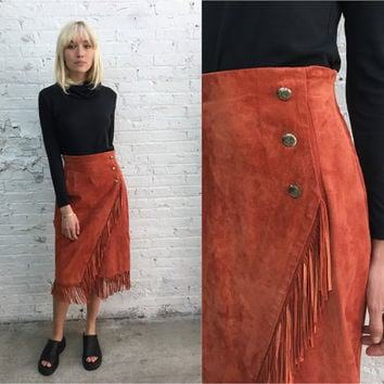 vintage coral fringe leather skirt / high waist fitted long leather skirt / western skirt festival skirt