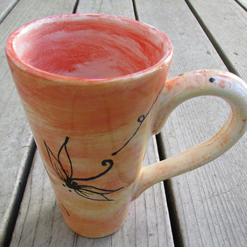 Dragonfly mug tall latte mug 16 ounce pottery mug choose your colors