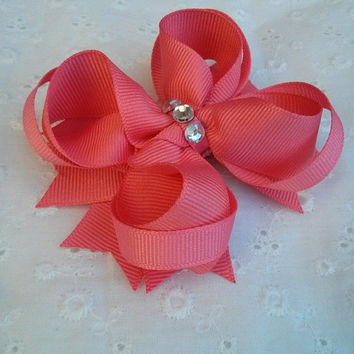 NEW!!!  Pink Stacked Boutique Hair Bow with Silver Acrylic Jewels