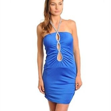 Junior's Royal Blue Silver Strap Halter Bodycon Dress