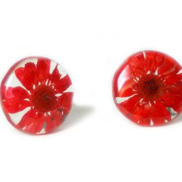 Red Flower Earrings- Real Flower Earrings- Flower Jewelry- Resin Jewelry- Post Earrings- Stud Earrings