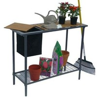 Outdoor Metal Garden Bench Work Table with Wood Top