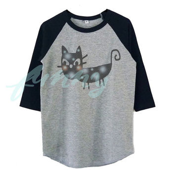 Black cat tshirt raglan shirt for kids toddlers boys girls tops Baby clothes **Halloween shirt