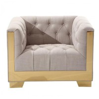Zinc Contemporary Chair In Taupe Tweed and Shiny Gold Finish by Armen Living