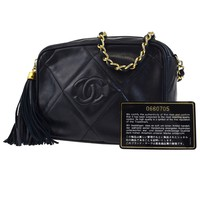 Auth CHANEL CC Logos Quilted Fringe Chain Shoulder Bag Leather Blue 636ED158