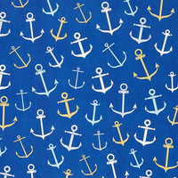 Anchors Gift Wrap Sheets, Blue, Set of 6, Wrapping Paper