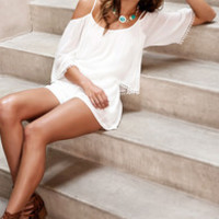 Desert Breeze Off-the-Shoulder Ivory Romper