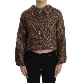 Dolce & Gabbana Brown Wool Tweed Crystal Jacket Coat