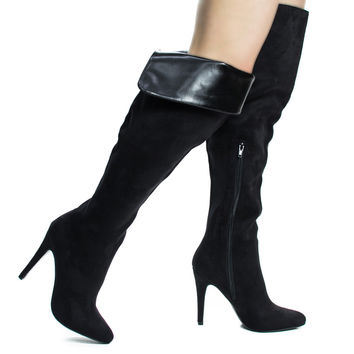 Sandra Black By Aquapillar, Foldable High Heel Stiletto OTK Over Knee Thigh High Dress Boots