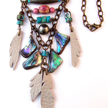 Abalone Healing Leather Necklace with Antique Brass Chain & Pink Ceramic with Turquoise Heshi Beads