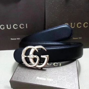 GUCCI Woman Fashion Smooth Buckle Belt Metal Carving Snake Leather Belt
