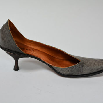 Vintage Cydwoq d'Orsay Pumps - Charcoal Leather Sole High Heels Size 10 Size 40