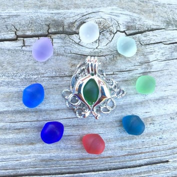 Kissing Dolphins  Sea Glass Set Colorful Sterling Silver Locket by Wave of LIfe