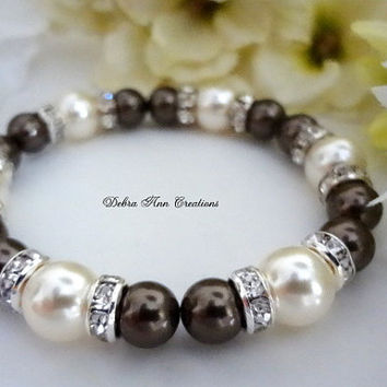 Swarovski Brown Pearl Bracelet,Brown Bridesmaid Bracelet,Mother of Bride Groom Gift,Brown Pearl Jewelry,Fall Brown Wedding Bridal Jewelry