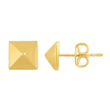 14K Gold Yellow Pyramid Style Stud Earrings