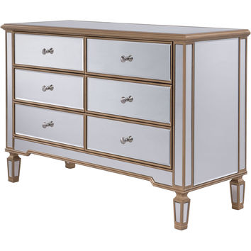 "Contempo 48""x18""x32"" Mirrored 6-Drawer Dresser, Gold"
