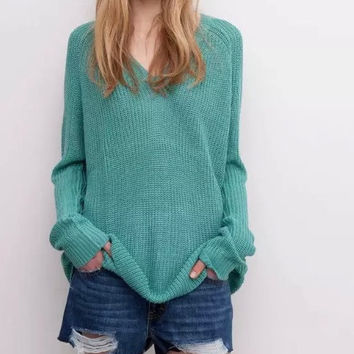 Plain V-Neck Long-Sleeve Knitted Pullover Shirt