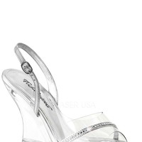 Clear Silver Rhinestone Single Sole Wedge PVC