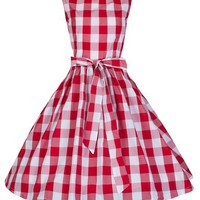 Lindy Bop 'Audrey' Vintage 1950's Rockabilly Checked/Gingham Picnic Party Swing Dress (L, Red & White)