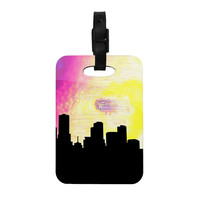 "Infinite Spray Art ""Skylined"" Pink Yellow Decorative Luggage Tag"