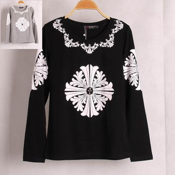 New Casual Fashion Women River Cross Printed T shirt Long Sleeve Woman Lady T-shirt Tops Undershirt Women Clothing Blusas SML