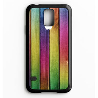 Colorful Wood Background Samsung Galaxy S5 Case