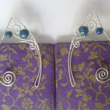 Silver Plated Handmade Wire Wrapped Blue & Green Bead Elf Ear Cuffs, Wire Weave, Spiral, Elven Ears, LARP, Fantasy Wedding Jewellery